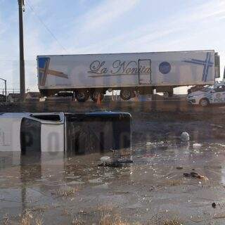 Una camioneta sufrió un despiste seguido de vuelco en la ruta 3